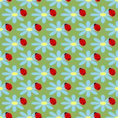 Ladybug and flower seamless pattern