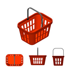 Shopping basket. Isolated on white background. 3d Vector illustration.