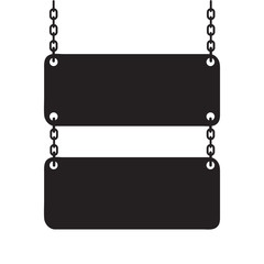 Blank signboard hanging on chain. Vector silhouette illustration.