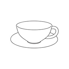 Empty Coffee cup. Isolated on white background. Vector outline illustration.