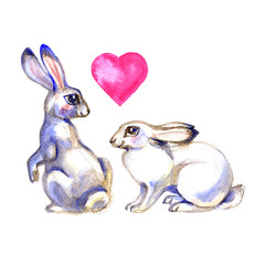 Two cute Rabbits in artistic style. Watercolor Easter art print. Hand drawn illustration.