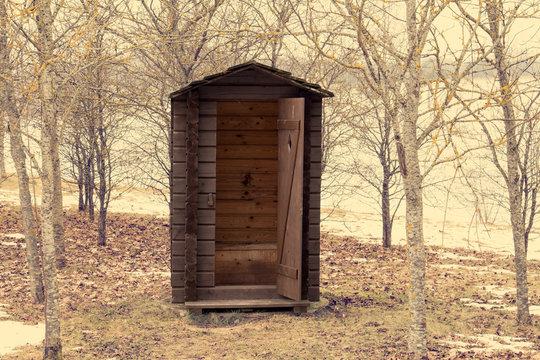 Wooden outdoor toilet