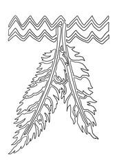 Ausmalbild Indianer Feder