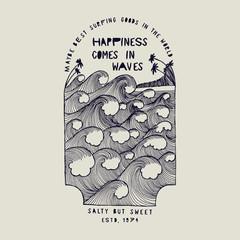 happines comes in waves - tropical ocean waves drawing print