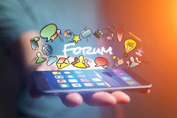 Concept of man holding smartphone with forum title and multimedia icons flying around