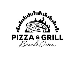pizza & grill logo with brick oven