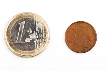 1 Euro and 1 eurocent