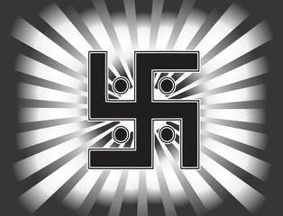 The most important symbol in the religion of Jainism -  the Sun Swastika. Gradient background, black and white sun rays, vector