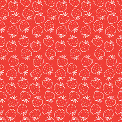Seamless vector pattern with hand drawn strawberry