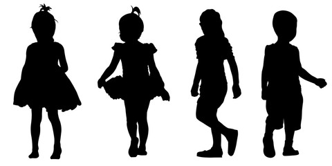 Set of kids silhouettes isolated on white