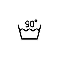 90 degrees washing laundry symbol line icon black on white