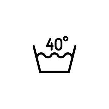 40 degrees washing laundry symbol line icon black on white