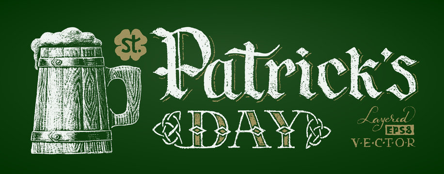 St. Patricks Day. Chalk drawing