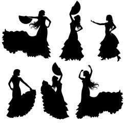 Flamenco dancer silhouette set.