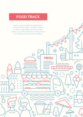 Food Track - line design brochure poster template A4