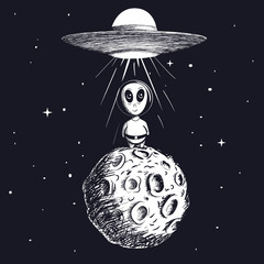 alien landed to moon from ufo