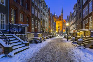 Mariacka street in Gdansk at snowy winter, Poland Wall mural