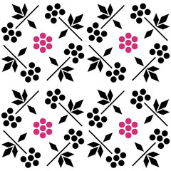 Seamless pattern with raspberry. simple and scandinavian style