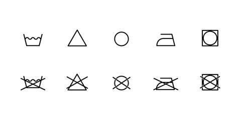 laundry washing symbols icons set