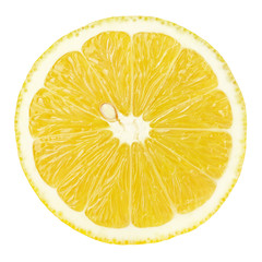 Top view of textured ripe slice of lemon citrus fruit isolated on white background with clipping path