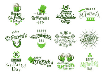 Vector illustration of happy patricks day typography text design