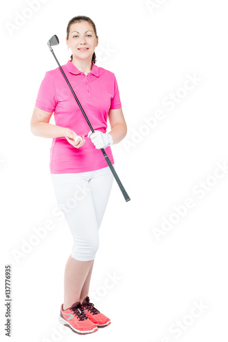 30 year old golfer with a golf club in full length on. Black Bedroom Furniture Sets. Home Design Ideas