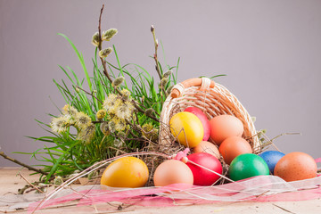 Easter eggs in the basket on a wooden table