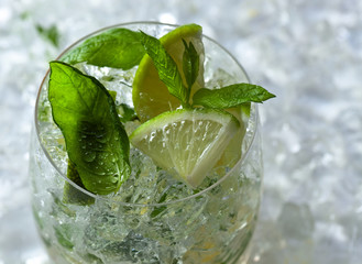 lime slices and mint leaves with ice