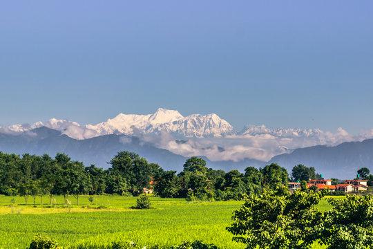 September 02, 2014 - Himalayan mountains seen from Sauraha, Nepal