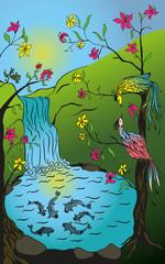 Print иллюстрация природа, водопад и пруд с рыбами, на цветущих деревьях сидят две птицы