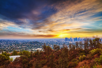 Wall Mural - Colorful sunset in Los Angeles