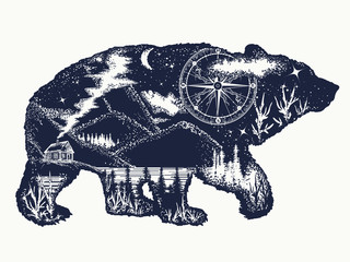 Bear double exposure tattoo art. Tourism symbol, adventure, great outdoor. Mountains, compass