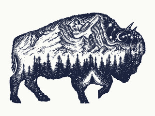 Bison tattoo art. Buffalo bull travel symbol, adventure tourism. Mountain, forest, night sky