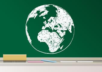 éducation - Terre - Tableau - dessin - globe - esquisse