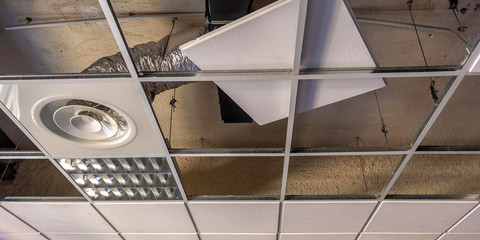 view of a classroom ceiling to be repaired