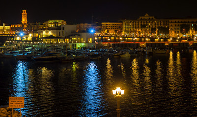 Bari night seafront and city lights
