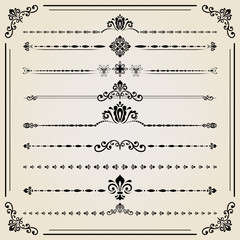 Vintage set of vector decorative elements. Horizontal separators in the frame. Collection of different ornaments. Classic patterns. Set of vintage patterns