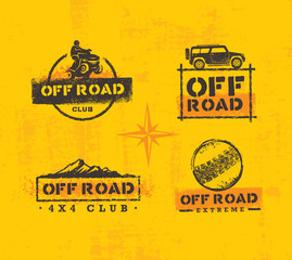 Off Road Park ATV Creative Vector Sign Set. Extreme Adventure Design Element On Grunge Wall Background