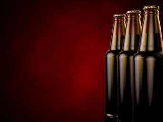 Bottles of beer on a red background. 3d illustration.