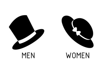 Toilet Signage for Men and Women with Hats Silhouette