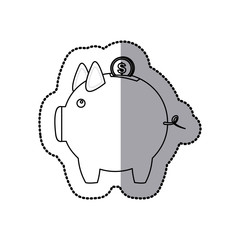 coin save in the pig icon stock, vector illustration design