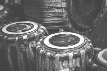 Burmese music instruments, image filter vintaged on black and white