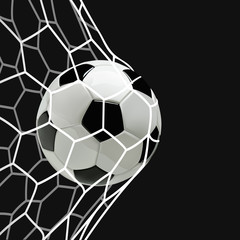 Soccer or Football 3d Ball in the Net on black background.