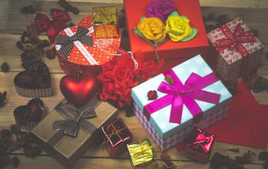 gift box set, vintage filter image