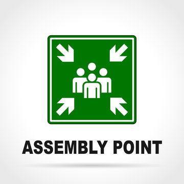 assembly point green sign