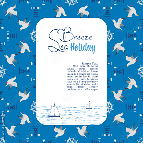 Nautical poster template for marine vacation advertisement banner nautical poster template for marine vacation advertisement banner sea breeze holiday maritime blue pronofoot35fo Images