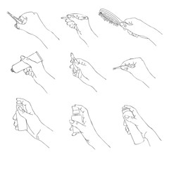 vector hand with cosmetic accessories