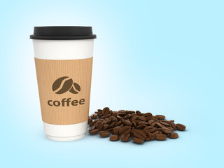 Paper coffee cup with coffee beans on blue gradient background 3d