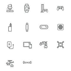 Gadgets vector icons set