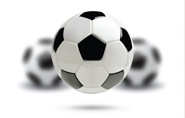 3d football or soccer ball with blurred balls on white background.